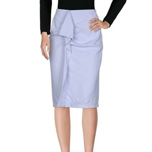 Carven pencil ruffle knee length skirt lilac blue